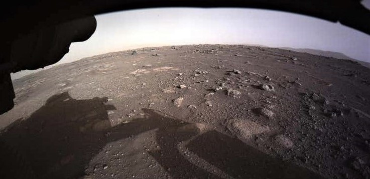 An early image sent back from Mars by NASA's Perseverance Rover