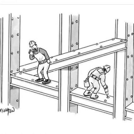 Cartoon (at a construction site): 'Escher! Get your ass up here'