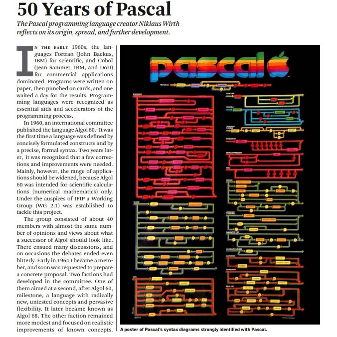 The programming language Pascal turns 50: CACM feature article by Pascal's designer Niklaus Wirth