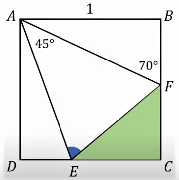 Math puzzle: ABCD is a square of side length 1. What is the measure of the angle AEF? What is the perimeter of the triangle CEF?