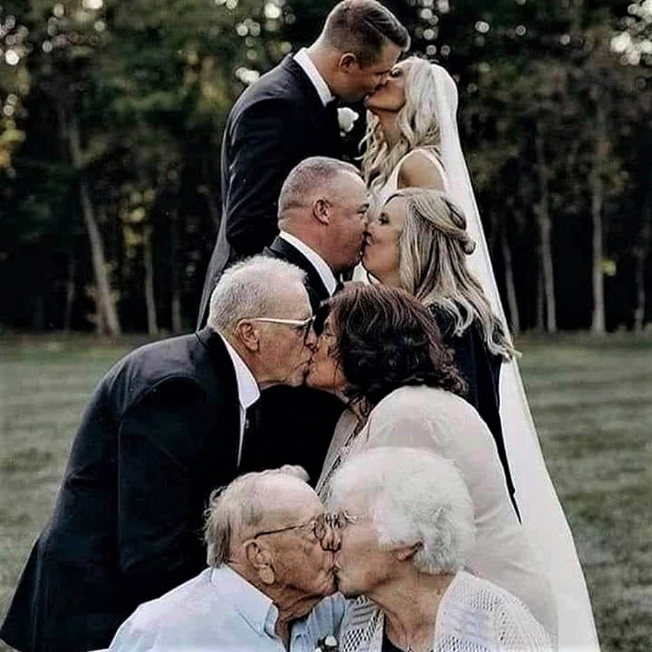 Lucky bride and groom: Getting married in the presence is three prior generations!