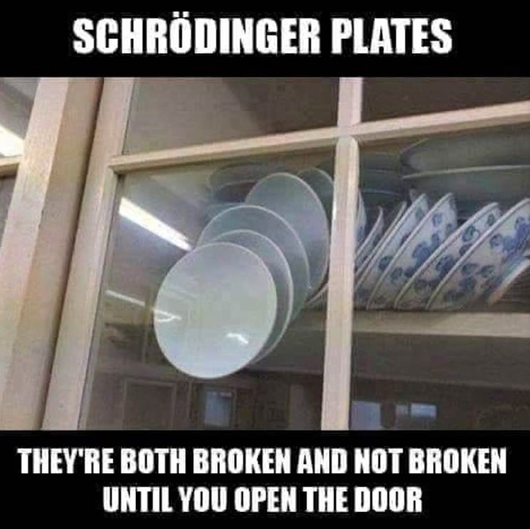 Schrodinger's plates: The plates are both broken and not broken, until you open the door