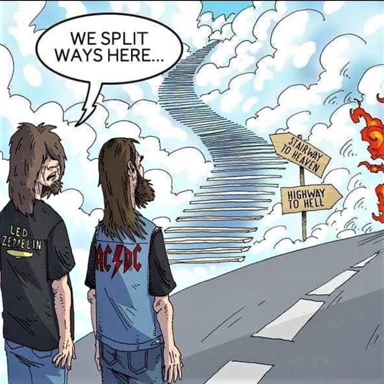 Cartoon: Stairway to Heaven; Highway to Hell