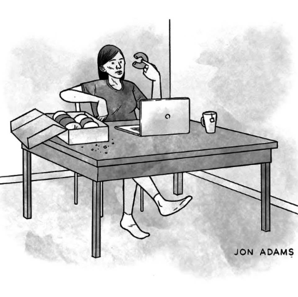 Cartoon (showing a Zoom meeting): 'Good morning everyone! I brought donuts'