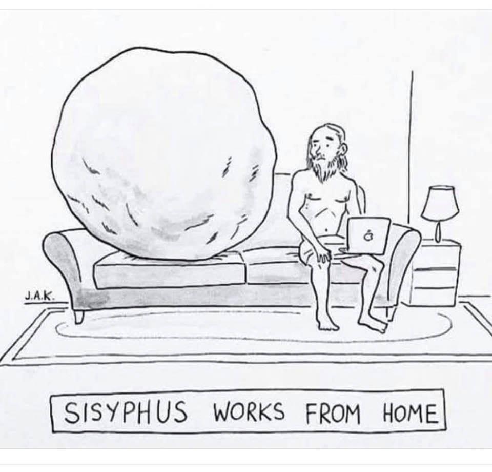 Cartoon: Sisyphus works from home