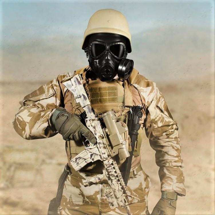 US soldier in full tactical gear, including helmets and face-mask