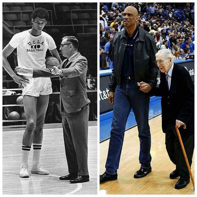 Two legends, a basketball coach and his player, in the late 1960s and the late 2000s