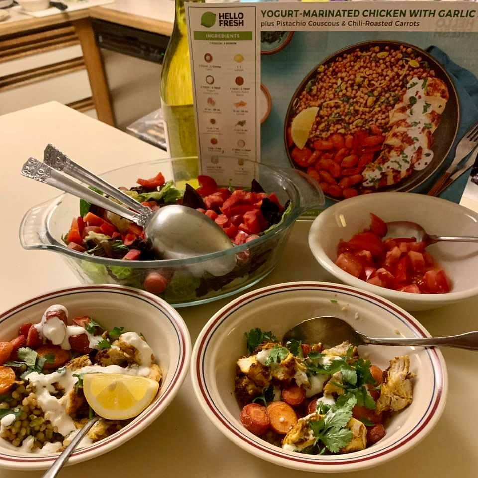 Tonight's 'Hello Fresh' meal with salad