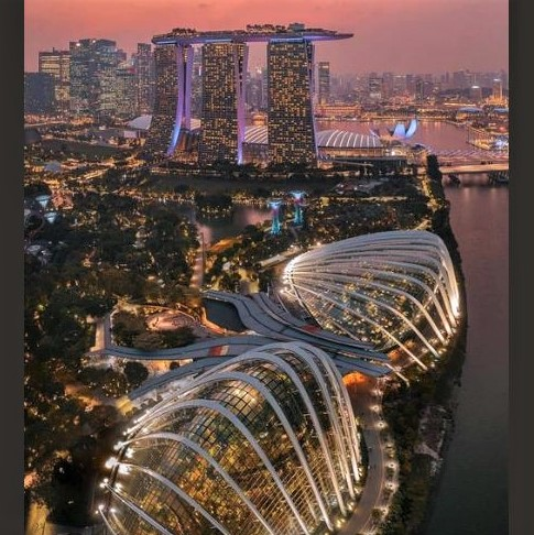 Singapore in the evening: 'Gardens by the Bay' in front; Marina Bay Sands resort/casino in the back