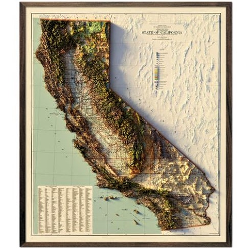 California 1944 relief map from Muir Way