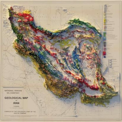 Iran 1957 relief map from Muir Way