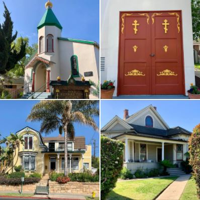Side streets of downtown Santa Barbara: Houses and a church