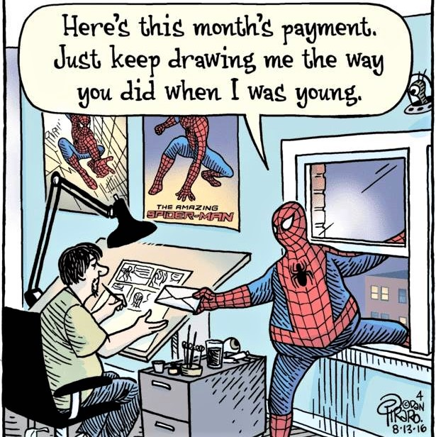 Cartoon: Spiderman in middle-age wants to be drawn the way he looked in his youth!