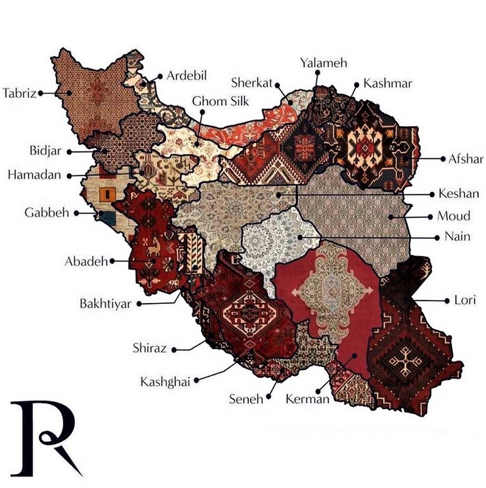 Carpet map of Iran: Shown are typical carpet design patterns for different provinces