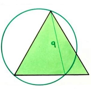 Puzzle: Find the area of the circle, assuming that the green triangle is equilateral