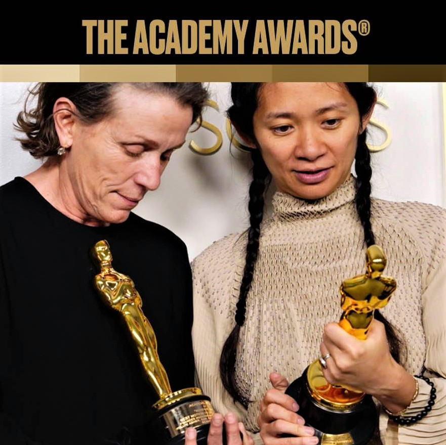 Chloe Zhao and Frances McDormand, after receiving their Oscars