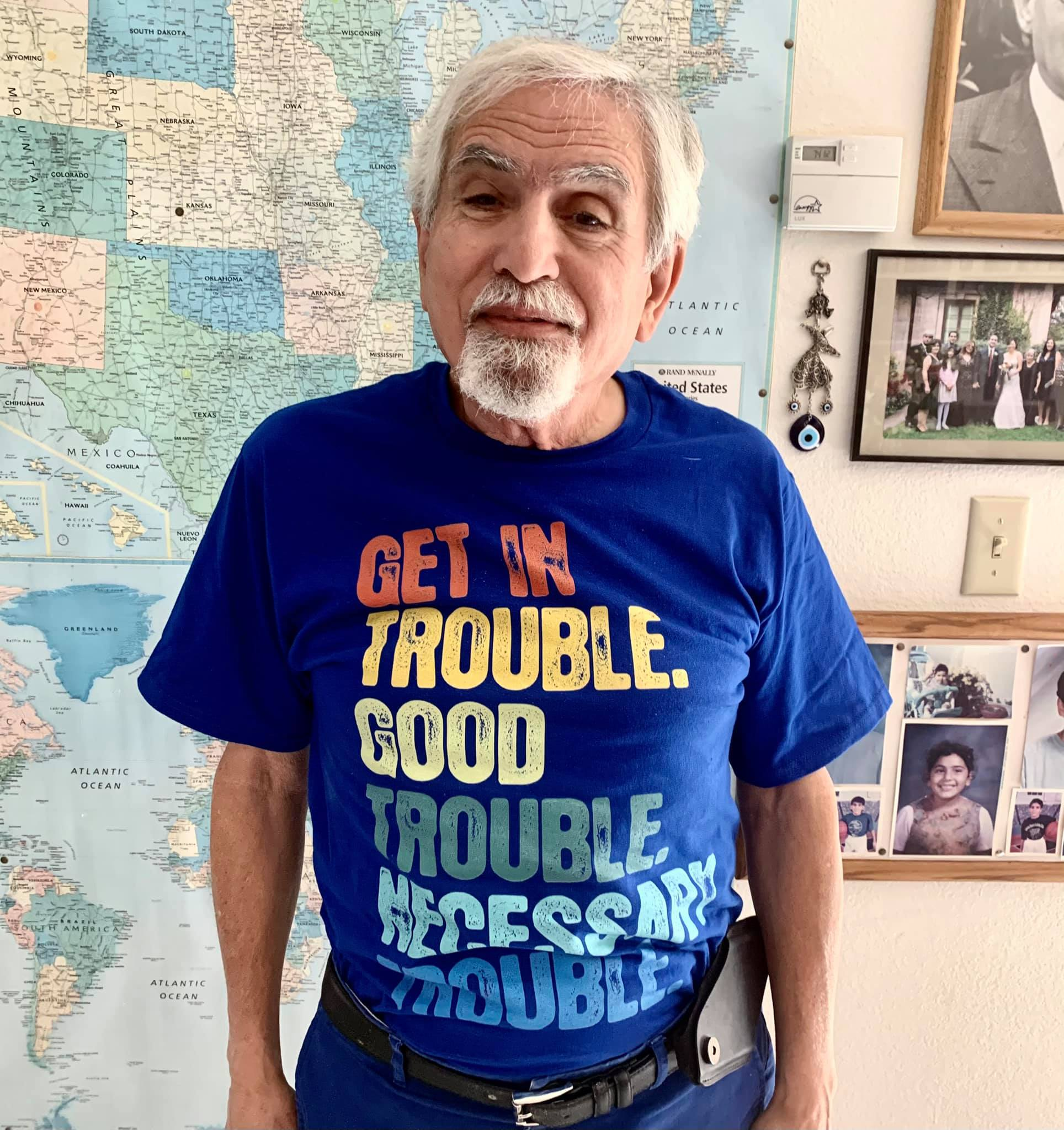 Yours truly, wearing a T-shirt with John Lewis's words: 'Get in trouble. Good trouble. Necessary trouble'
