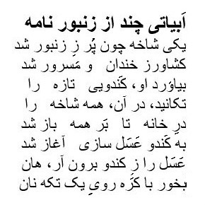 Humorous Persian epic poetry: Zanboornameh