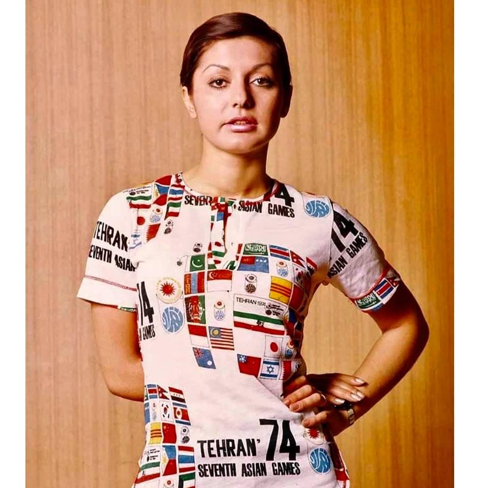 Throwback Thursday: Googoosh wearing a 1974 Asian Games T-shirt