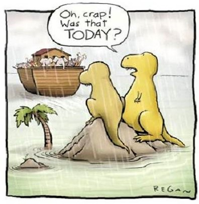 Cartoon: The very first senior moment in recorded history occurred for a dinosaur couple who missed Noah's boat