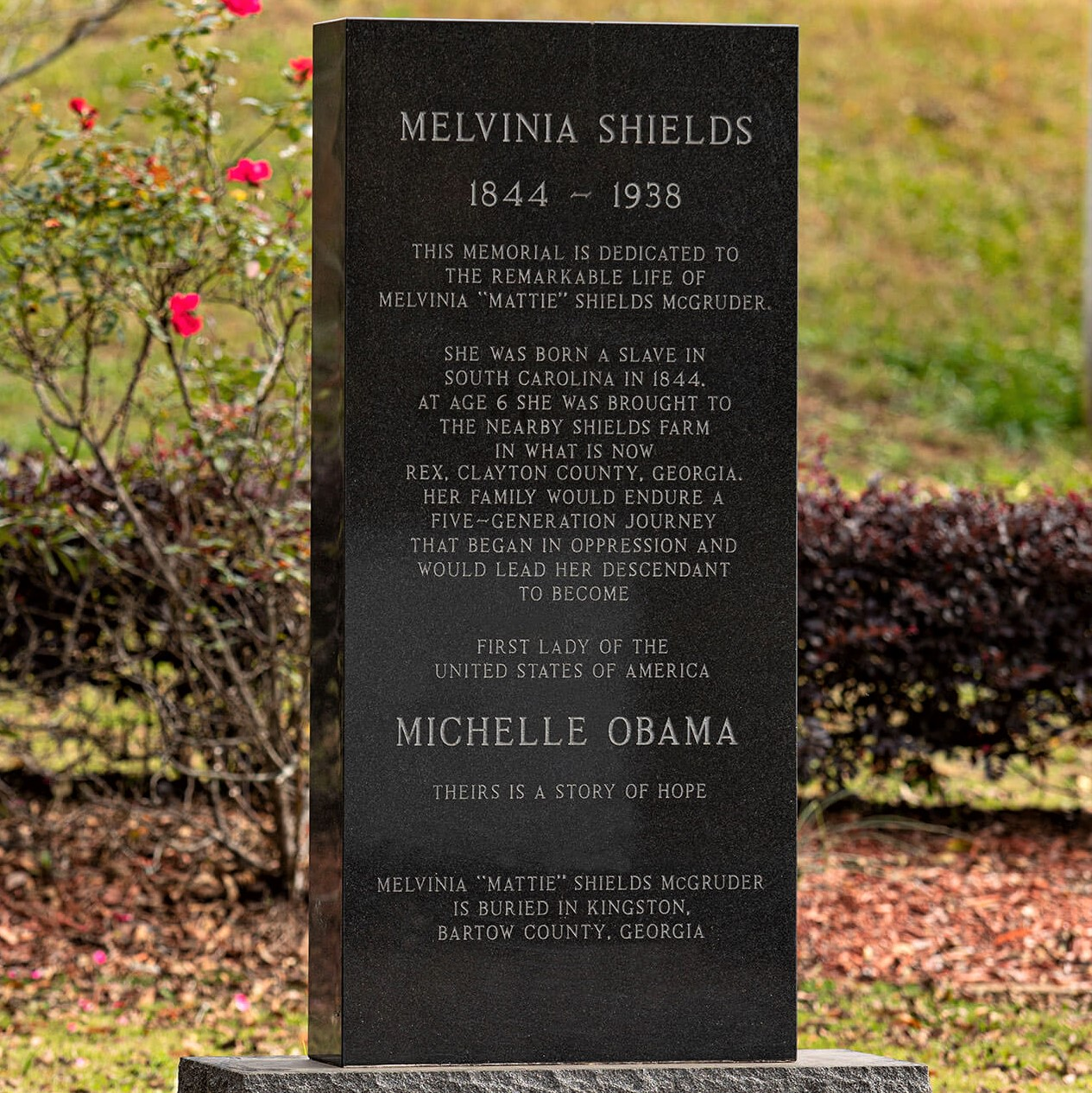 Monument in memory of Michelle Obama's ancestor, Melvinia Shields, who was born a slave five generations ago
