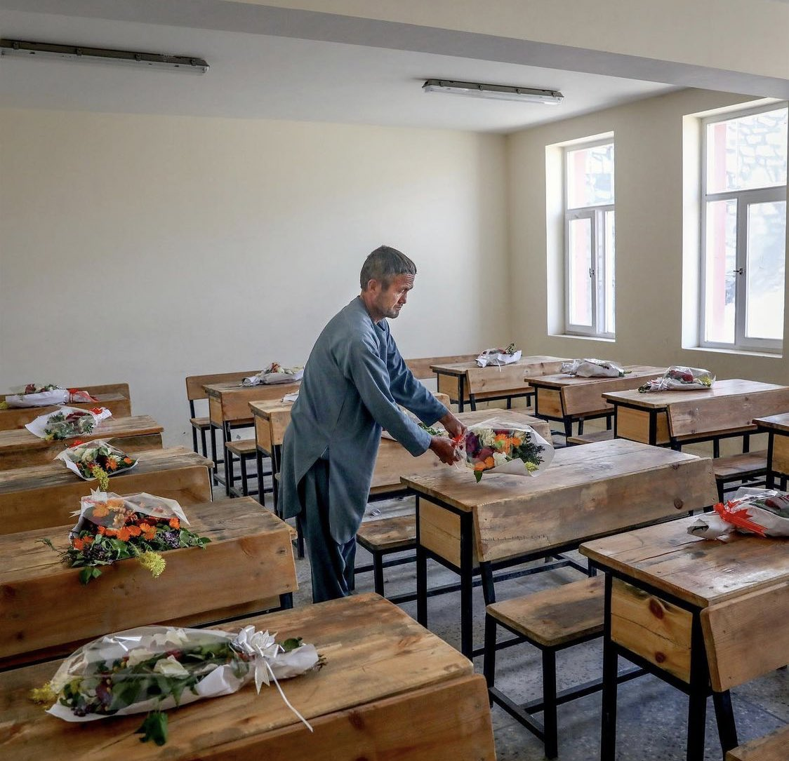 Mourning a loss: A classroom in the Afghan girls' school where 85 were killed by a car-bomb