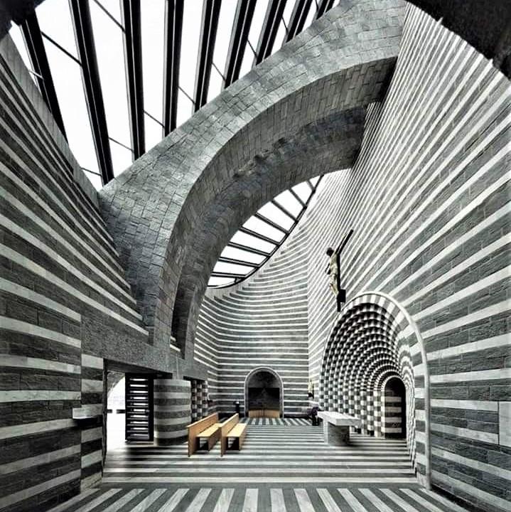 Church of San Giovanni Battista, Mogno, Switzerland (1996): Designed by architect Mario Botta
