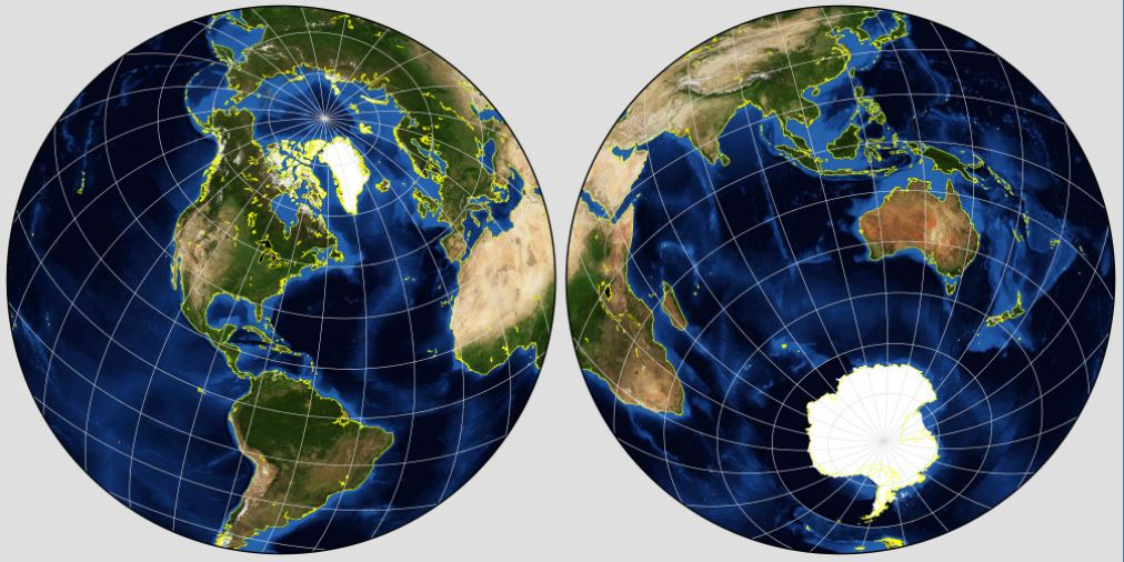 NASA maps of the two hemispheres, focused on the North and South Poles