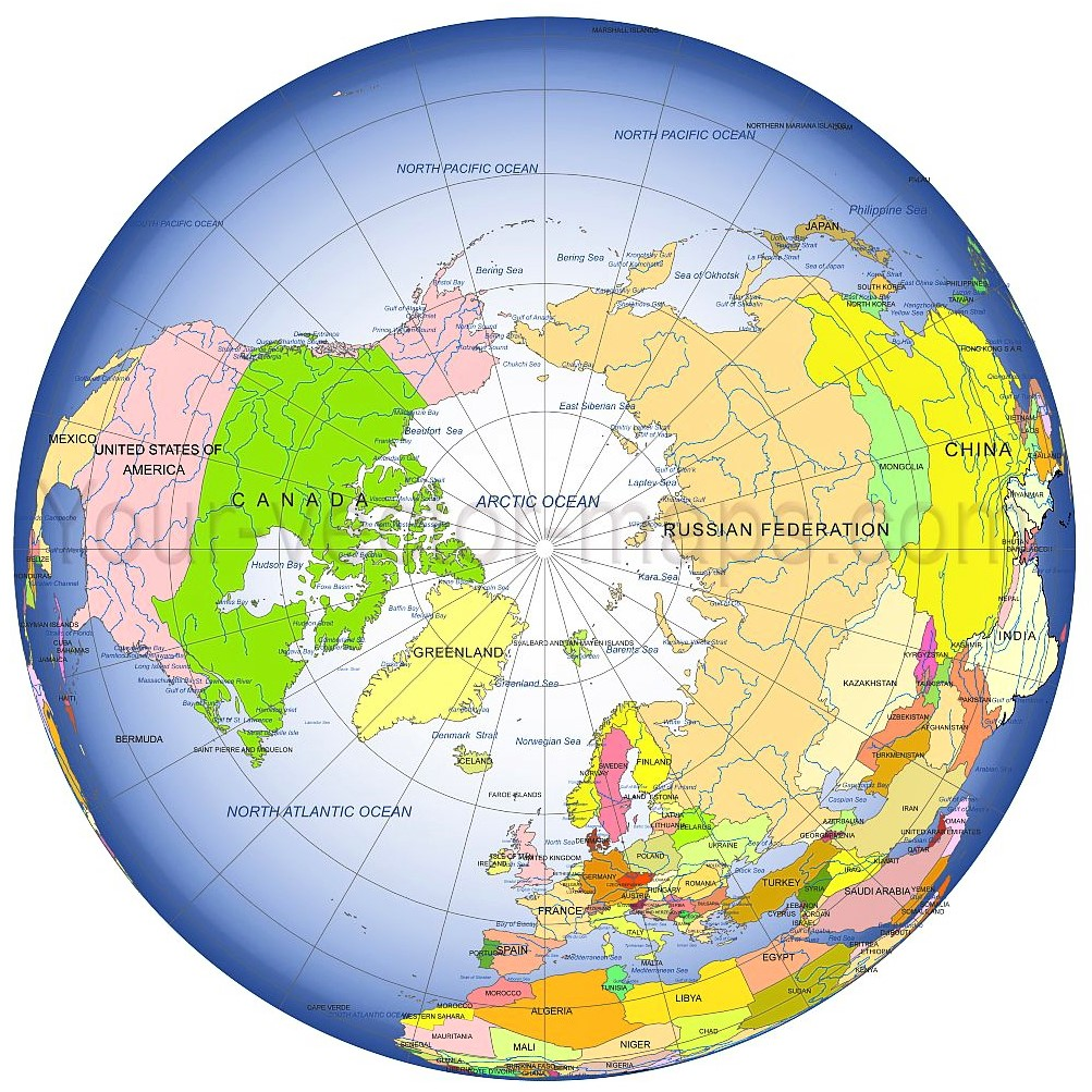 World map centered at the North Pole