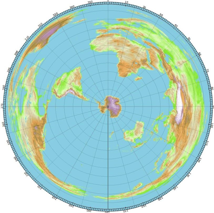 World map centered at the South Pole