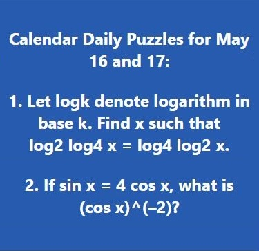 Calendar Daily Puzzles for May 16 and 17