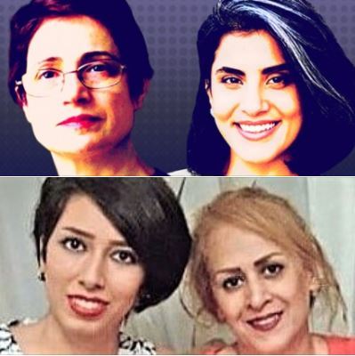 Human/women's-rights activists Nasrin Sotoudeh, Loujain Hathloul, and Saba Kord Afshari (with her mom)