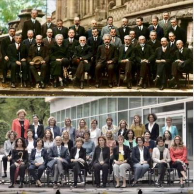 Ninety years later: Women physicists include a single man in their group photo to make a point