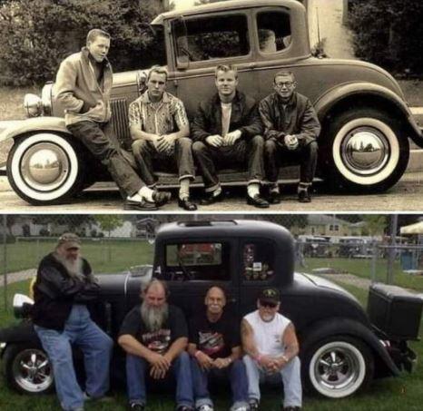 Same guys, same car, fifty years later!