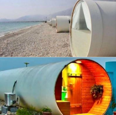 Hotel in southern Iran, with rooms built of large industrial plastic pipes