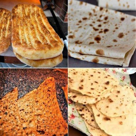 The four main kinds of bread used in Iran: Barbari, lavash, sangak, and taftoon