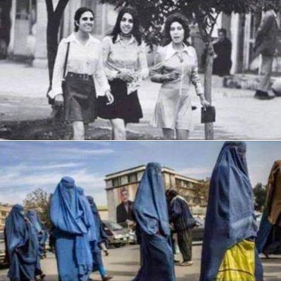 Women in Kabul, Afghanistan, 1972 vs. 2013