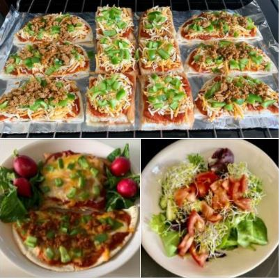 Today's lunch: Mini-pizzas, made on halved pita breads and barbari slices, with salad