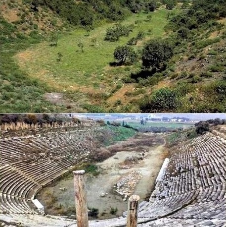 Excavated Stadium of Magnesia in western Turkey: Before and after