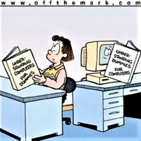 Cartoon: 'Understanding Computers for Dummies' and 'Understanding Dummies for Computers'!