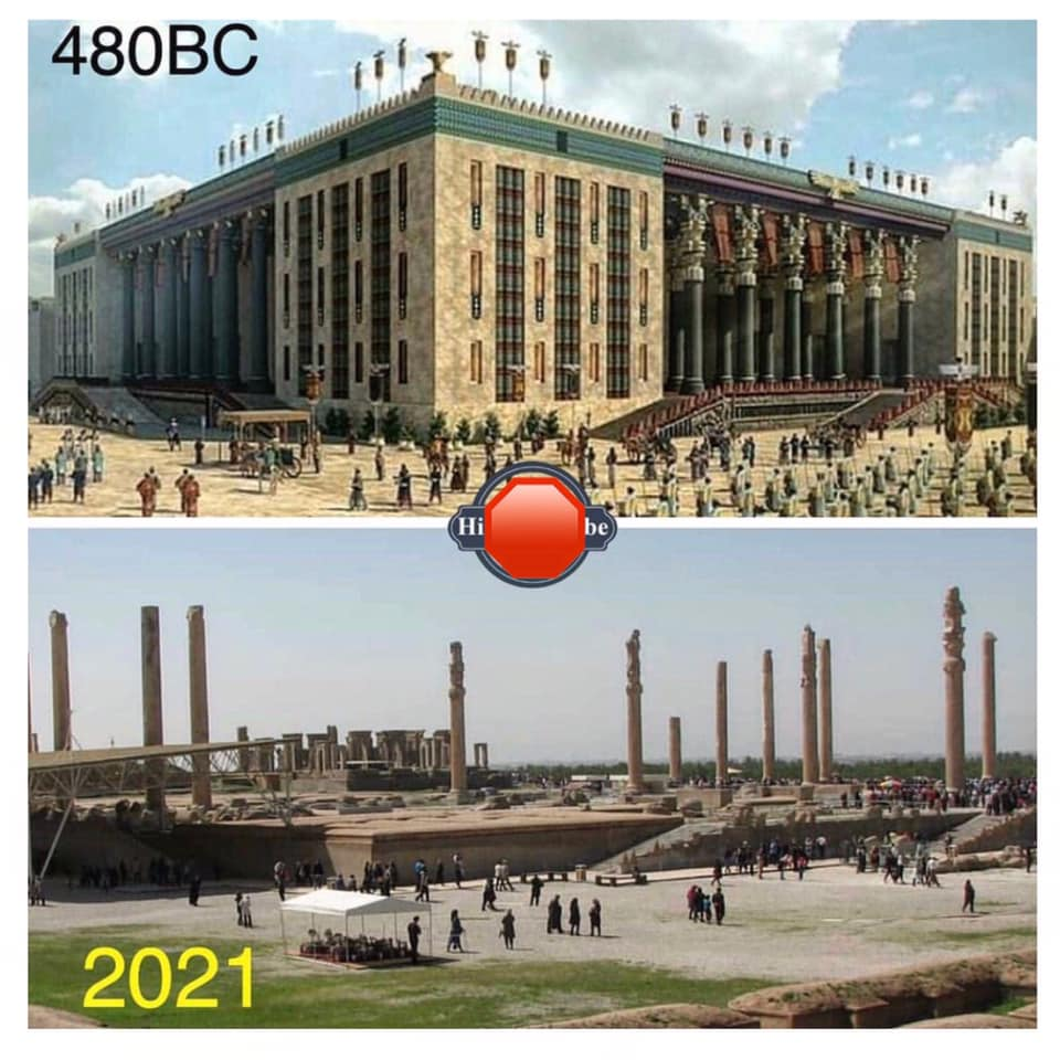 Persepolis, as it stood 2500 years ago in central Iran, and its ruins today