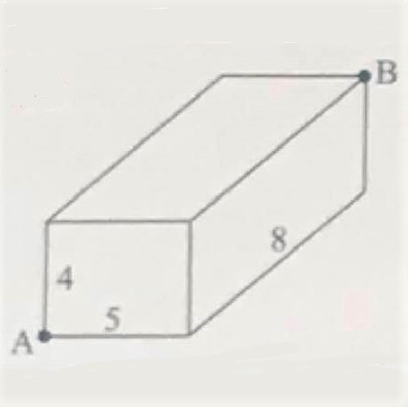 Math puzzle: What is the shortest distance from A to B on the outside of the box?