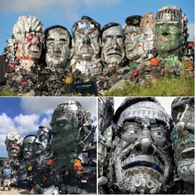 Mount Recyclemore: Sculpture made of e-waste, located on Sandy Acres in Cornwall, UK